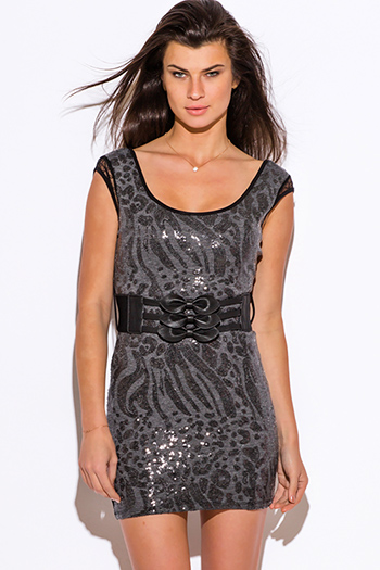 $10 - Cute cheap backless bodycon cocktail dress - gray sequined backless fitted bodycon belted sexy club mini dress