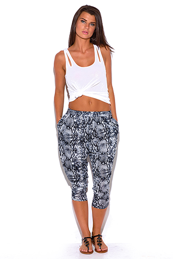 $10 - Cute cheap snake print pants - gray snake animal print pocketed tapered jersey capri harem parachute lounge pants