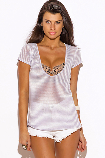 $7 - Cute cheap v neck fitted top - gray stripe deep v neck fitted tee shirt top