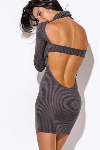 $20 - Cute cheap find sweater - gray turtleneck ribbed backless fitted bodycon long sleeve sweater mini dress