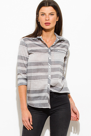 $15 - Cute cheap cotton fitted bodycon top - gray white striped cotton button up blouse top