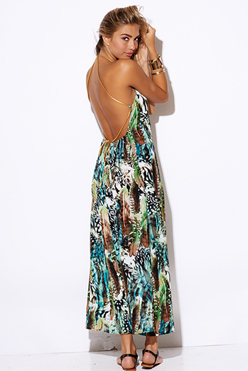 $25 - Cute cheap animal print dress - green abstract animal print backless golden leatherette strappy boho evening sexy party maxi dress