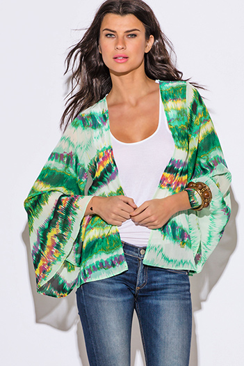 $15 - Cute cheap clothes - green abstract tie dye print chiffon boho kimono sleeve blazer top