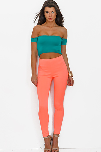 $7 - Cute cheap jumpsuit for women - neon coral teal green color block cut out off shoulder fitted bodycon catsuit jumpsuit