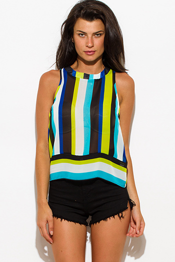 $8 - Cute cheap blue sheer bodysuit - green blue stripe sheer chiffon sleeveless blouse top