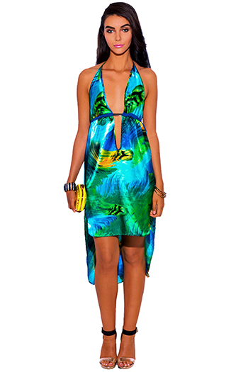 $25 - Cute cheap color green dress - green feather print satin bejeweled deep v neck high low babydoll midi cocktail sexy party sun dress