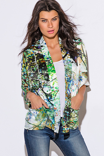 $15 - Cute cheap cute juniors fitted career blazer jacket 55345 - green multi color abstract print charmeuse boho kimono blazer jacket