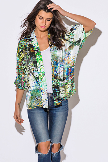 $15 - Cute cheap fall - green multi color abstract print charmeuse boho kimono blazer jacket