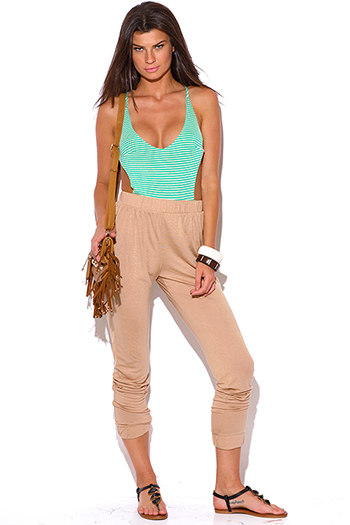 $15 - Cute cheap jumpsuit women.html - green stripe criss cross backless khaki beige 2fer jersey harem jumpsuit