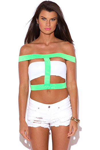 $7 - Cute cheap white fishnet mesh crop top shorts sexy clubbing set - neon green white caged cut out off shoulder bandage crop clubbing top