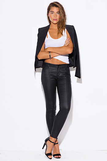 $20 - Cute cheap black bow tie high waisted harem pants - HART black denim wet look fitted high waisted skinny jeans