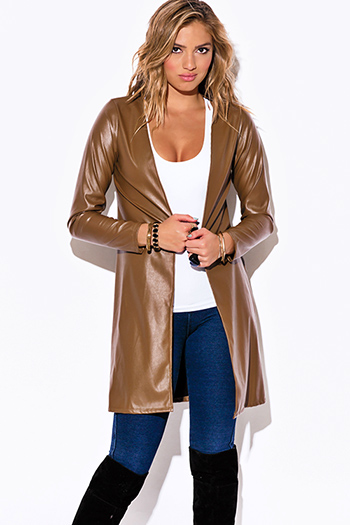 $15 - Cute cheap hazelnut brown faux leather duster coat open jacket