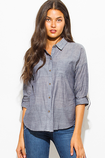 $15 - Cute cheap light blue washed denim quarter sleeve snap button up blouse top - heather gray pocketed quarter sleeve button up blouse top