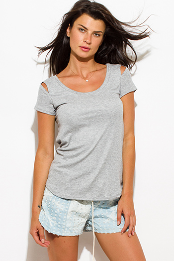 $10 - Cute cheap clothes - heather gray ribbed knit cut out shoulder scoop neck short sleeve tee shirt top