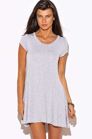 $15 - Cute cheap top - heather gray short sleeve tee shirt tunic top mini dress