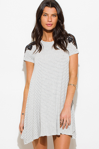$15 - Cute cheap evening mini dress - heather gray stripe print crochet short sleeve boho tunic mini dress
