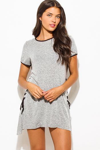$15 - Cute cheap charcoal gray cotton blend choker v neck cut out quarter sleeve bodycon fitted bodysuit top - heather gray two toned cotton blend short sleeve laceup side tunic top mini shirt dress