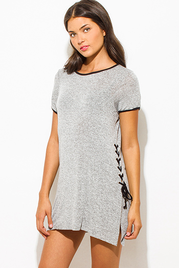 $10 - Cute cheap bandage dress - heather gray two toned cotton blend short sleeve laceup side tunic top mini shirt dress