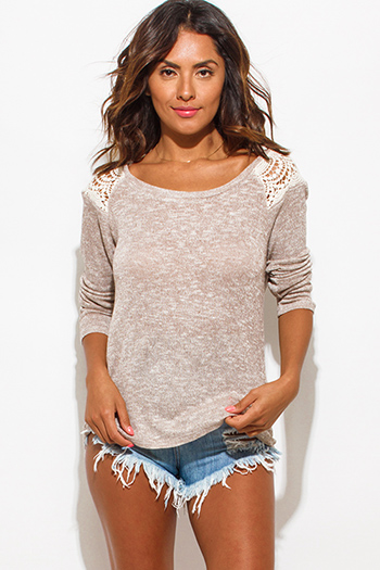$15 - Cute cheap find sweater - heather khaki beige crochet contrast long sleeve sweater knit top