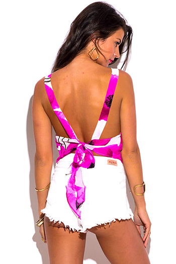 $7 - Cute cheap print fringe top - hot pink floral print white sheer chiffon backless bow tie beach cover up tank top