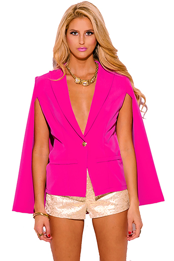$30 - Cute cheap cute juniors fitted career blazer jacket 55345 - hot pink military button cape jacket suiting blazer top