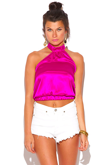 $7 - Cute cheap satin asymmetrical sexy party blouse - hot pink satin cut away asymmetrical high neck blouse party top