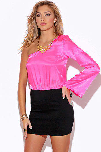 $5 - Cute cheap satin asymmetrical party blouse - pink satin one shoulder bell sleeve pencil cocktail party sexy club mini dress