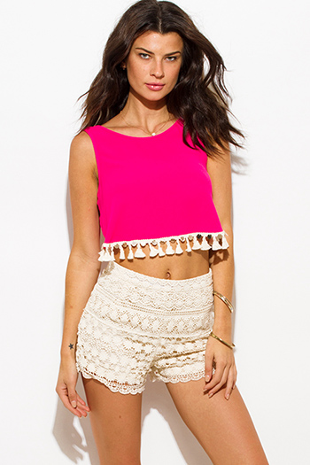 $15 - Cute cheap boho open back top - hot pink sequin tassel embellished sleeveless backless tie boho crop top