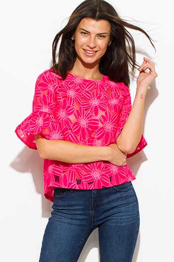 $15 - Cute cheap print bell sleeve top - hot pink sheer rayon gauze floral print quarter bell sleeve boho blouse top