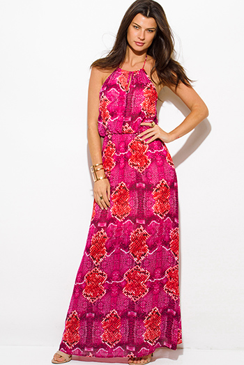 $25 - Cute cheap gauze cotton maxi dress - hot pink snake animal print chiffon keyhole halter neck backless evening maxi sun dress