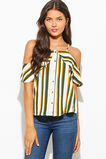 $15 - Cute cheap ethnic print chiffon top - hunter green multicolor stripe print ruffle cold shoulder golden button up boho blouse tank top