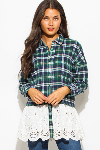 $20 - Cute cheap lace sheer slit top - hunter green plaid flannel lace hem boho knit top