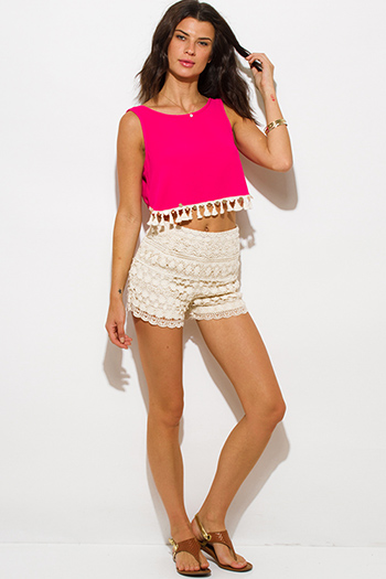 $10 - Cute cheap bottoms - ivoery beige floral crochet boho resort high waisted shorts