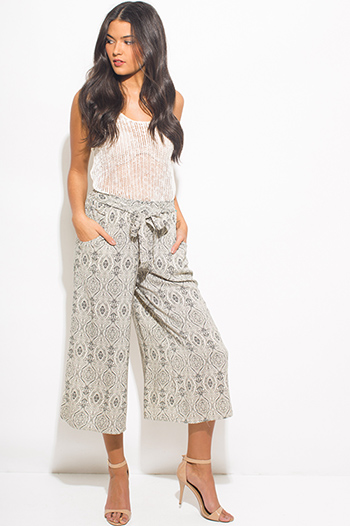 $15 - Cute cheap ethnic print jumpsuit - ivory beige abstract ethnic print waist tie pocketed boho wide leg palazzo pants