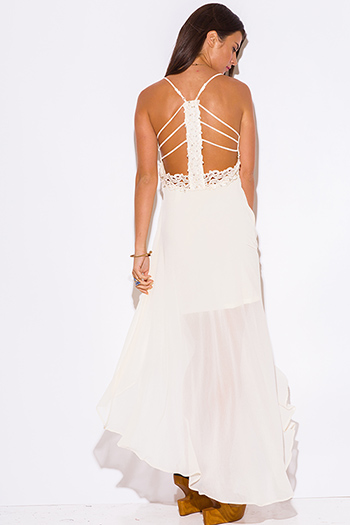 $10 - Cute cheap white dress - ivory white chiffon bejeweled cut out back caged backless high low formal cocktail sexy party dress