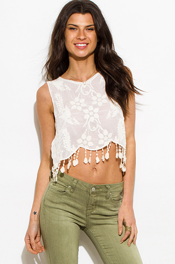 $15 - Cute cheap ivory beige lace trim pocketed tie front shorts - ivory beige embroidered sleeveless scallop tassel fringed hem boho sexy party crop top