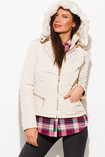 $30 - Cute cheap caramel brown faux leather ribbed bomber moto jacket - ivory beige quilted faux fur lined zip up hooded pocketed puffer jacket