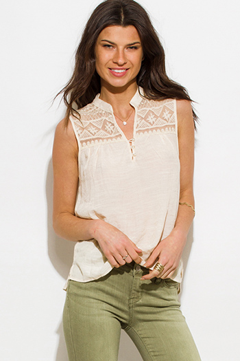 $10 - Cute cheap khaki blouse - ivory beige sheer crochet panel peasant boho blouse tank top