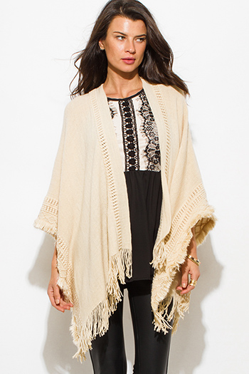 $15 - Cute cheap ivory cream crochet knit fringe trim open front shawl poncho cardigan jacket