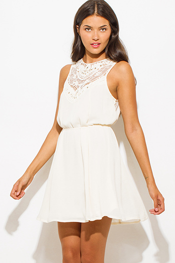 $25 - Cute cheap strapless boho mini dress - ivory cream rayon gauze textured embellished crochet contrast sleeveless boho mini peasant dress