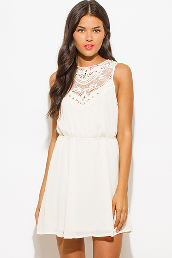 $20 - Cute cheap ivory cream rayon gauze textured embellished crochet contrast sleeveless boho mini peasant dress