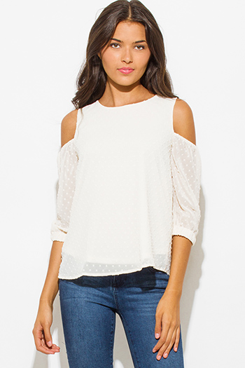 $20 - Cute cheap ivory cream textured chiffon cold shoulder quarter sleeve keyhole back boho blouse top