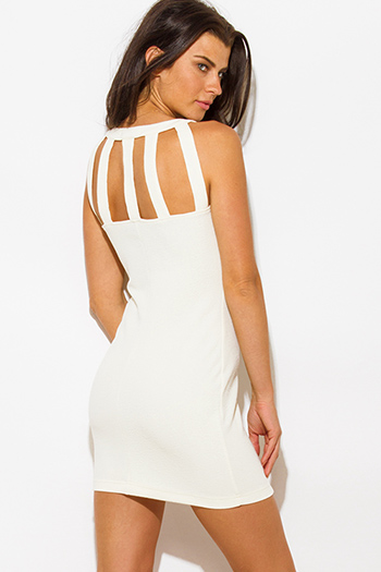 $15 - Cute cheap dress - ivory jacquard chain bejeweled caged cut out back fitted bodycon pencil sexy club mini dress