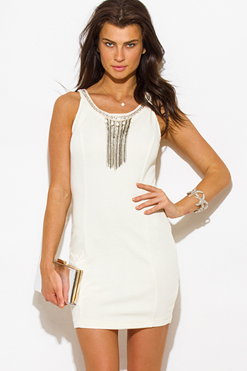 $15 - Cute cheap pencil mini dress - ivory jacquard chain bejeweled caged cut out back fitted bodycon pencil sexy club mini dress