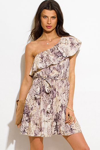 $20 - Cute cheap leather mini dress - ivory purple multicolor floral print one shoulder ruffle pleated cocktail sexy party boho mini sun dress
