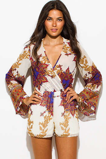 $25 - Cute cheap clothes - ivory regal print beige semi sheer chiffon long bell sleeve boho romper playsuit jumpsuit