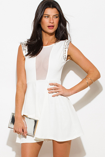 $25 - Cute cheap white slit sexy party maxi dress - ivory white bejeweled cap sleeve sheer mesh panel a line skater cocktail party mini dress