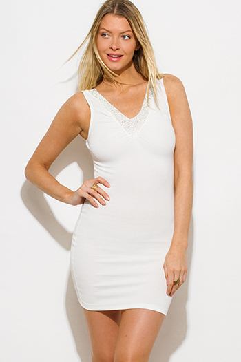 $10 - Cute cheap peplum fitted cocktail dress - ivory white bejeweled v neck bodycon fitted sexy clubbing mini dress