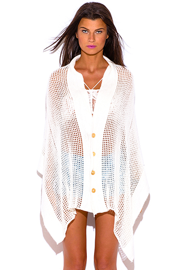 $15 - Cute cheap plus size size 1xl 2xl 3xl 4xl onesize - ivory white button down poncho see through sweater boho tunic cardigan top