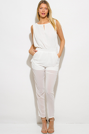 $20 - Cute cheap clothes - ivory white chiffon golden chain embellished pocketed sexy clubbing jumpsuit